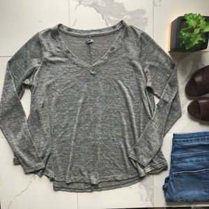 American Eagle Green And White Long Sleeve Top